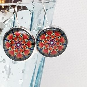 Jewelry - Glass Tile Lever-back Drop Earrings New Great Gift